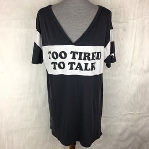 PINK Victoria's Secret Too Tired to Talk Shirt